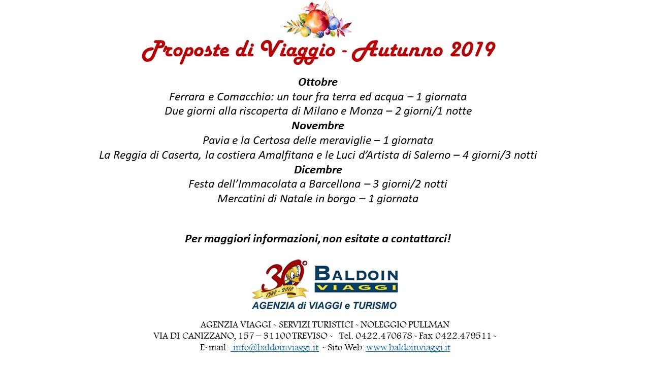 Proposte di viaggio autunno/inverno 2019
