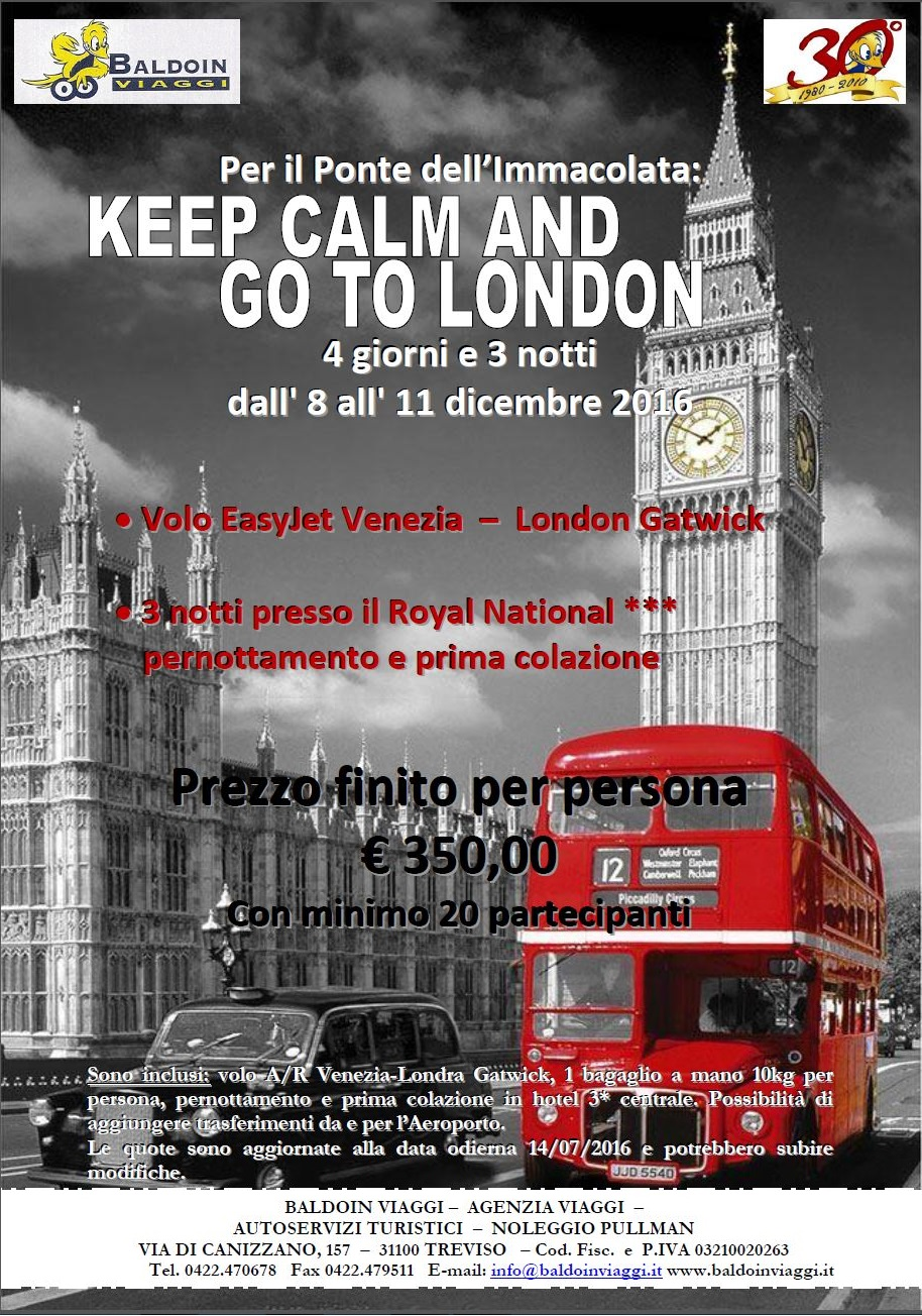 locandina - Viaggio di gruppo a Londra - ponte dell'Immacolata