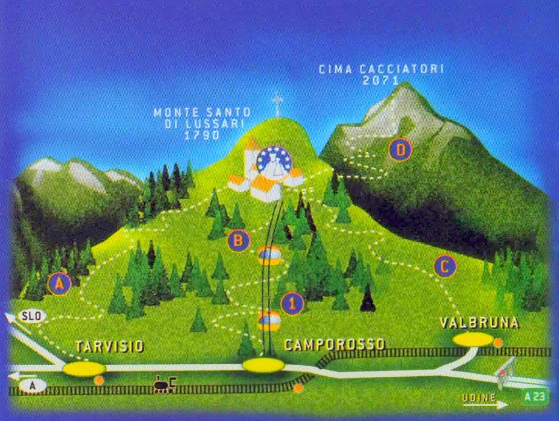 cartina santuario - SANTUARIO DEL MONTE LUSSARI - VENZONE Domenica 23 LUGLIO 2017